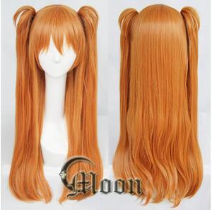 Image 1 - Парик для косплея Langley Soryu АСУКА из аниме, Длинные оранжевые термостойкие синтетические волосы с 2 зажимами для конского хвоста, с шапочкой