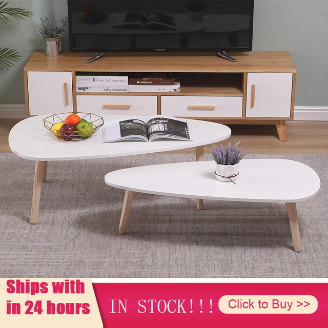 2Pcs/Set Light Coffee Tables Wooden Leg Nordic Living Room Round Side Table Kitchen Furniture Modern Combo Cafe Tea Table HWC