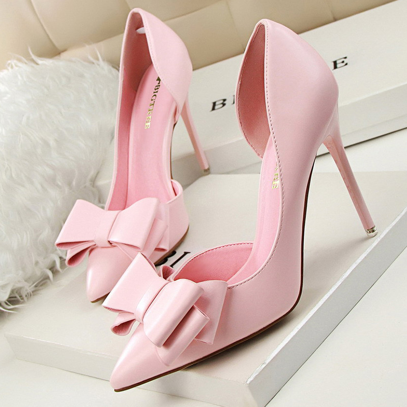 Pumps Women Shoes High Heels Butterfly-Knot Ladies Shoes Womens Heels Shoes Pointed High Heel Shoes White Pink Red Stiletto