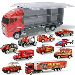Image 3 - Большой грузовик и 6 шт. мини Литой автомобиль модель 1:64 масштаб Игрушки транспортные средства Перевозчик грузовик инженерный автомобиль игрушки для детей мальчиков
