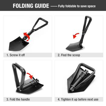 WORKPRO Military Shovel Tactical Folding Shovel Outdoor Camping Spade Survival Emergency Tools 4