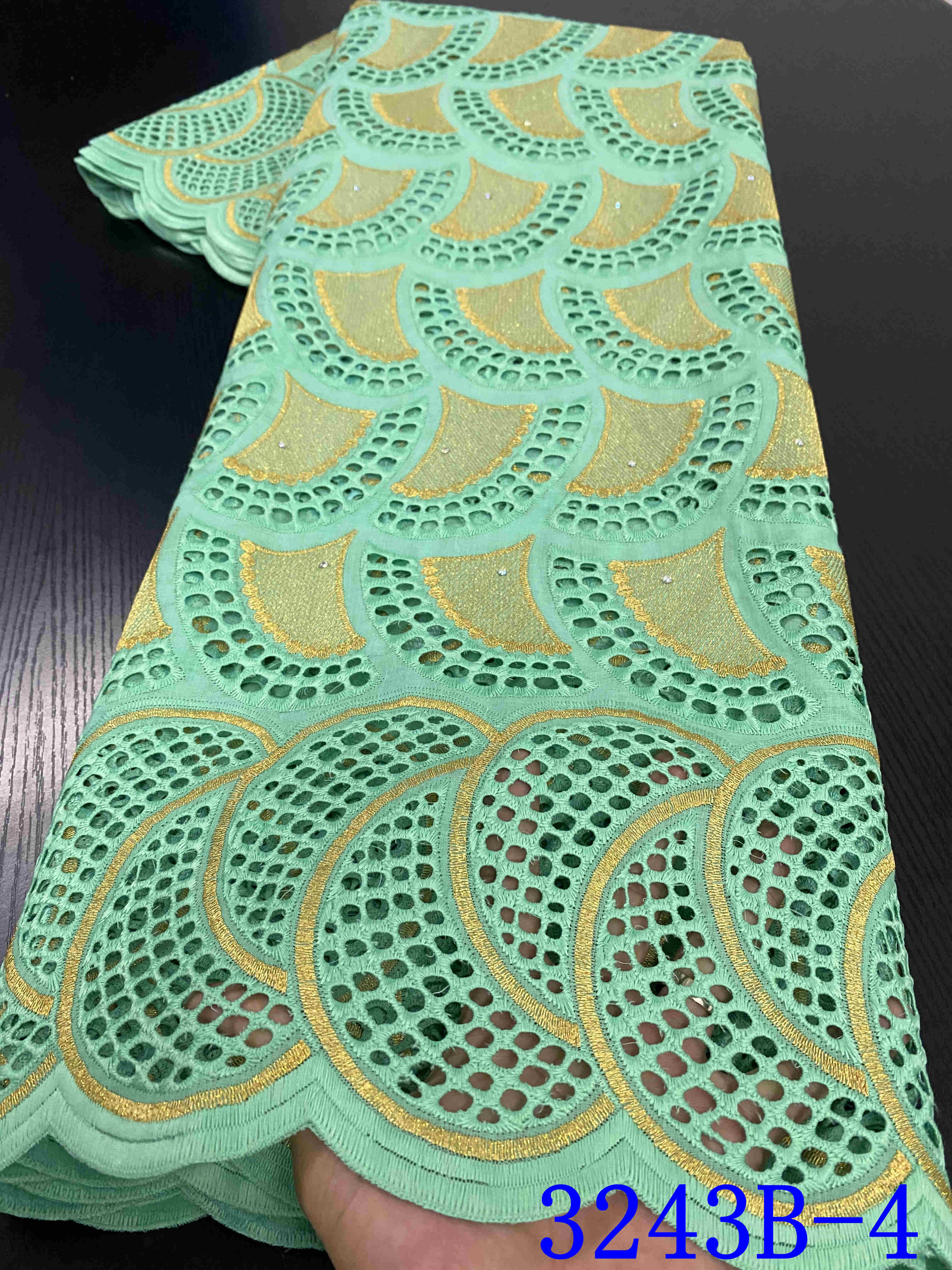 African Lace Fabric 2020 High Quality Lace Embroidered 100% Cotton Voile Lace With Stones Nigerian Voile Lace Fabrics YA3243B-4
