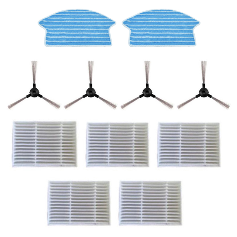 11Pcs/Set Vacuum Cleaner Accessories Filter Side Brush Fit for Midea VCR15 VCR16 5 Filters + 4 Side Brushes + 2 Rags|Vacuum Cleaner Parts| |  - title=