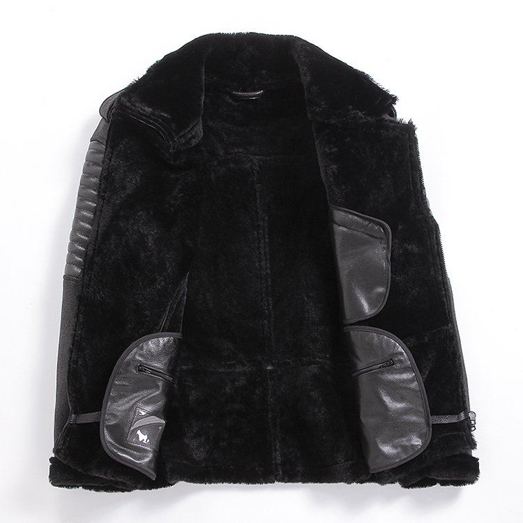 Genuine Leather Jacket Men Winter Sheepskin Coat Warm Motorcycle Sheep Shearling Jacket Man Wool Lining Coats KJ2914