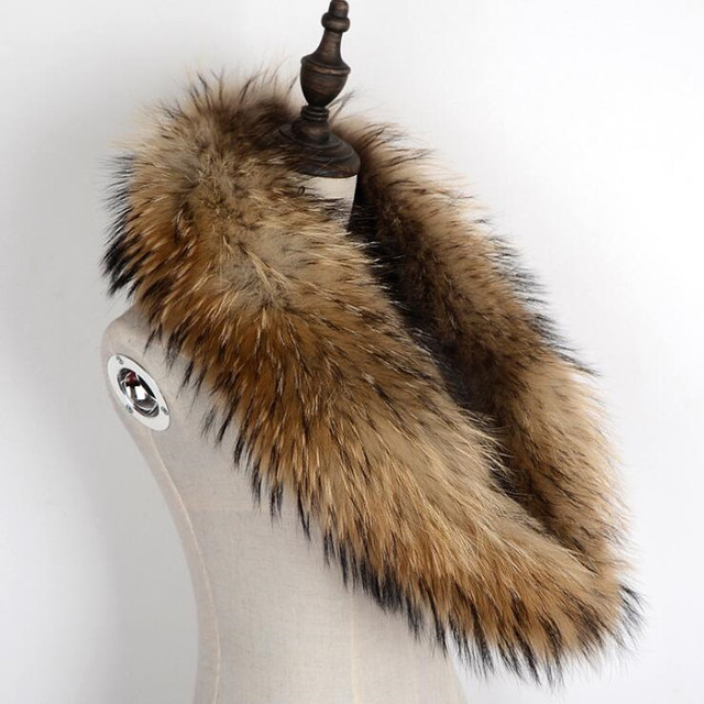 100% Genuine Raccoon Fur Collar Scarf For Coat Detachable Natural Raccoon Fur Scarf For Women Real Fur Collar Neck Warmer 4