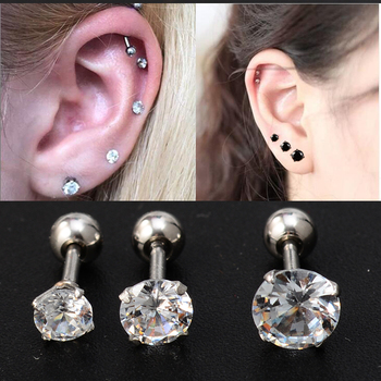 2PCS Pack Fashion Clear Stud Earrings with Stone Crystal Helix Piercing Cartilage Earrings Surgical Steel Body.jpg 350x350 - 2PCS/Pack  Fashion Clear Stud Earrings with Stone Crystal Helix Piercing Cartilage Earrings Surgical Steel Body Jewelry Brincos