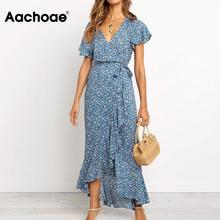 Dress Women Short-Sleeve Bohemian-Wrap Long Maxi Floral-Print Aachoae Ruffles Summer
