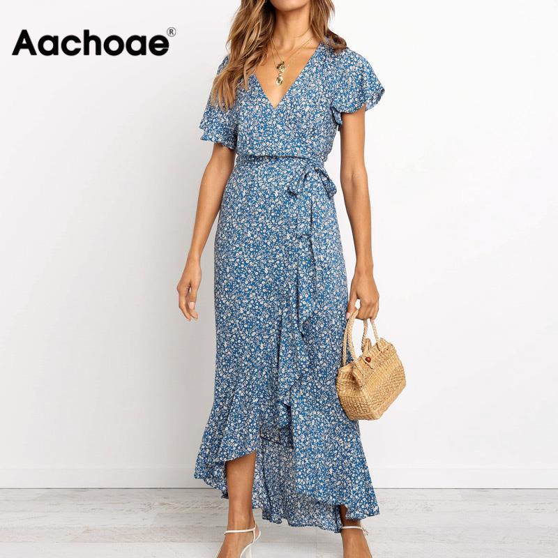 Aachoae Long Maxi Dress Women Summer Bohemian Wrap Floral Print Beach Dress V Neck Split Short Sleeve Ruffles Sundress Vestidos
