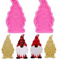 Силиконовая форма Gnome-помадка-смола-ремесла-глина-конфеты-ювелирные изделия-форма для мастики, брелок-Рождественский трафарет-латексные ре...