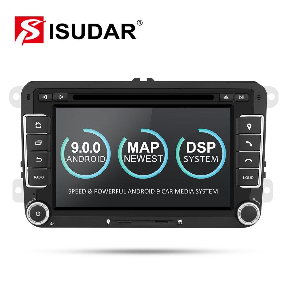Isudar Coche Reproductor Multimedia Android 9 GPS 2 Din Para VW/Golf/Tiguan/Skoda/Fabia/ Rápido/asiento/León Canbus Automotriz DVD Radio DSP