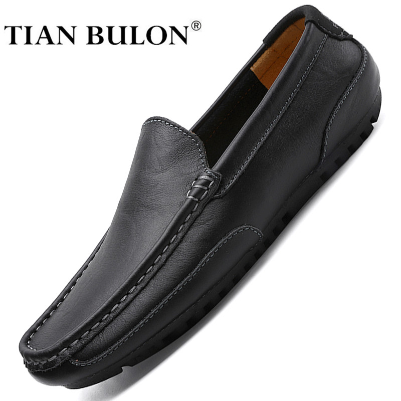 Genuine Leather Men Casual Shoes Brand 2020 Italian Mens Loafers Moccasins Breathable Slip On Formal Driving Shoes Men Plus Size