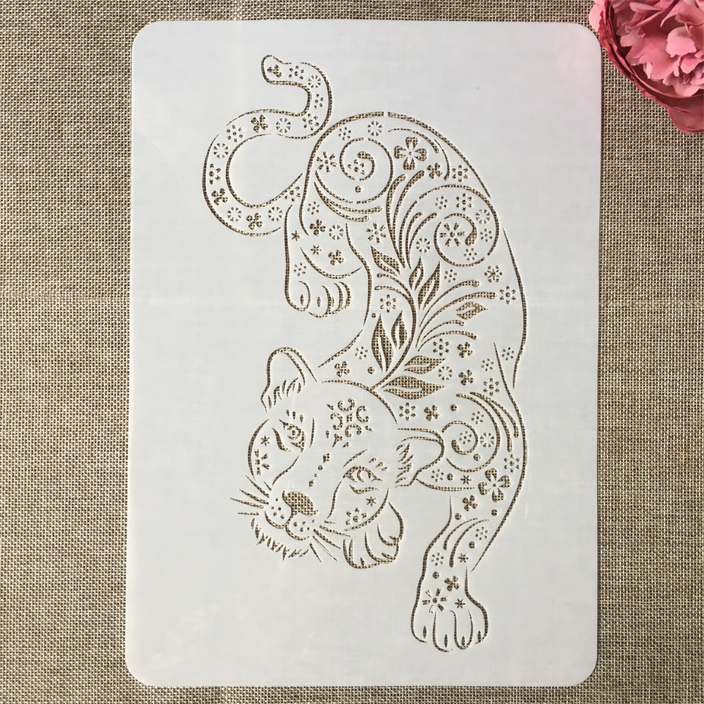 A4 29cm Mandala Leopard DIY Layering Stencils Painting Scrapbook Coloring Embossing Album Decorative Template
