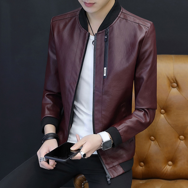 2019 Spring And Autumn New Style MEN'S Jacket Slim Fit Korean-style Youth Handsome Locomotive PU Leather Coat Trend Men'S Wear