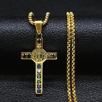 Collares de cadena de cristal de acero inoxidable con cruz de Jesús, gargantillas de Color dorado para mujeres y hombres, joyería colgante, 2021, N4907S05