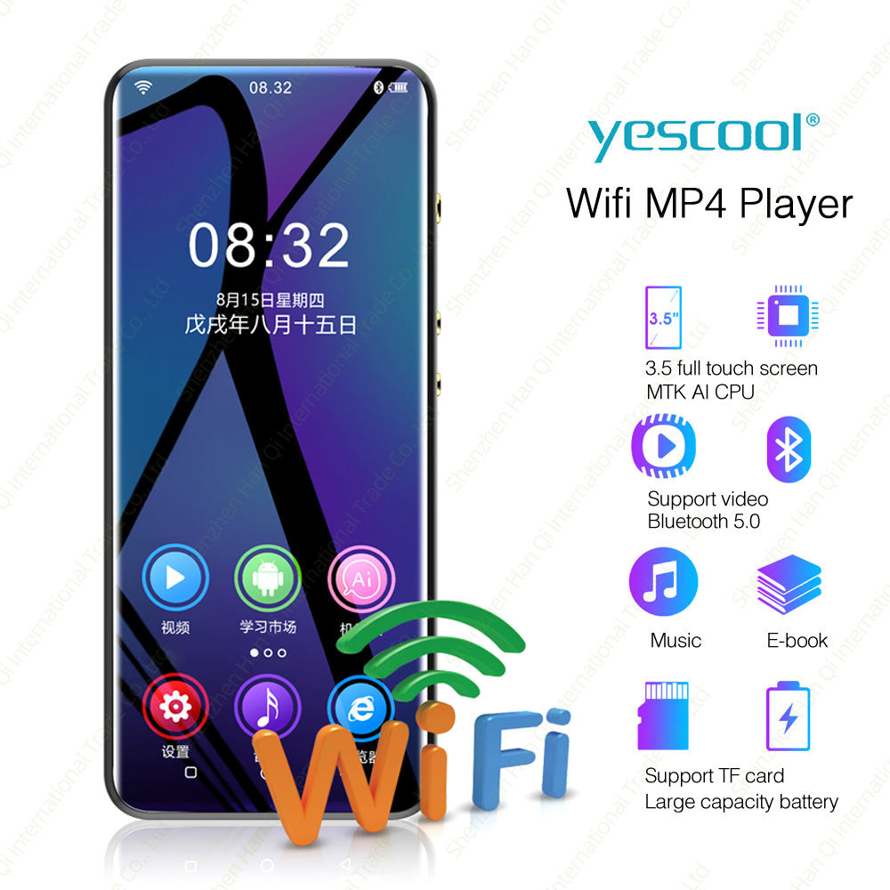 Android Bluetooth HiFi музыкальный MP3 плеер с wifi Портативный сенсорный экран MP3-плеер с динамиком FM Электронная книга рекордер видео плеер