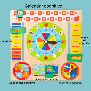 Dziecko wczesne uczenie się figurki edukacyjne zabawki dziecko drewniana płyta gra Montessori pogoda sezon czas poznawcze puzzle świąteczny prezent tanie i dobre opinie MaMagic CN (pochodzenie) no eating Certyfikat europejski (CE) 8 ~ 13 Lat 14 lat i więcej 2-4 lata 5-7 lat multifunctional wood calendar