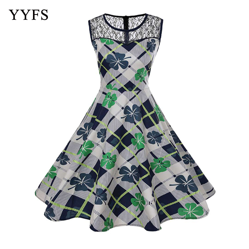Women Summer Dress 2018 Clothing Floral Robe Femme Tunic Casual Elegant Vintage Rockabilly Midi Dresses Swing Vestidos Plus Size in Dresses from Women 39 s Clothing