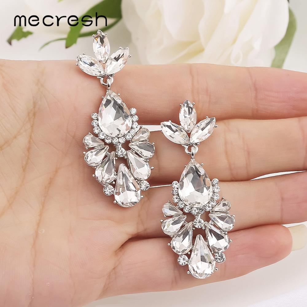 Mecresh Unique Teardrop Crystal Dangle Earrings For Pageant Competition Cute Silver Color Leaf Bridal Wedding Earrings MEH1705