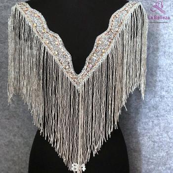 1Piece Silver/Gold V-neck patch,fringe appliques, beads patch,wedding gown appliques