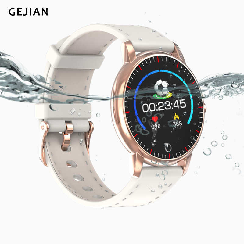 Gejian novo relógio inteligente monitor de freqüência cardíaca ip67 à prova dip67 água fitness rastreador pressão arterial esporte relógios inteligentes para mulheres masculinas