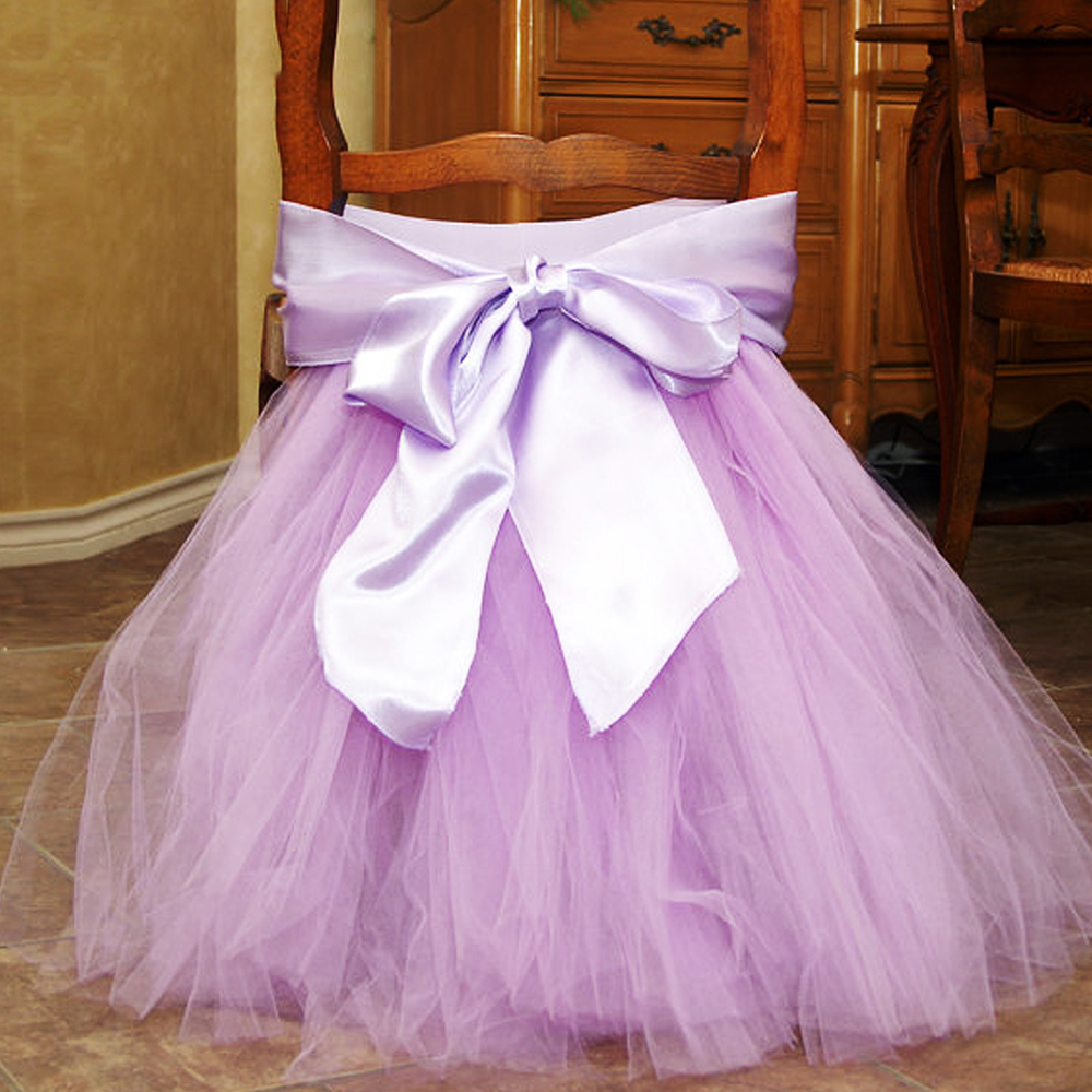 1pc Simple Tulle Chair Skirt For Birthday Wedding Chair Sashes Decoration Hotel Banquet Supplies 45x45cm