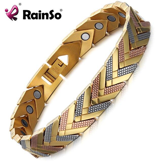 Rainso zdrowie bransoletka magnetyczna bransoletka dla kobiet gorąca sprzedaż bioenergetyczna bransoletka ze stali nierdzewnej złota biżuteria 2020