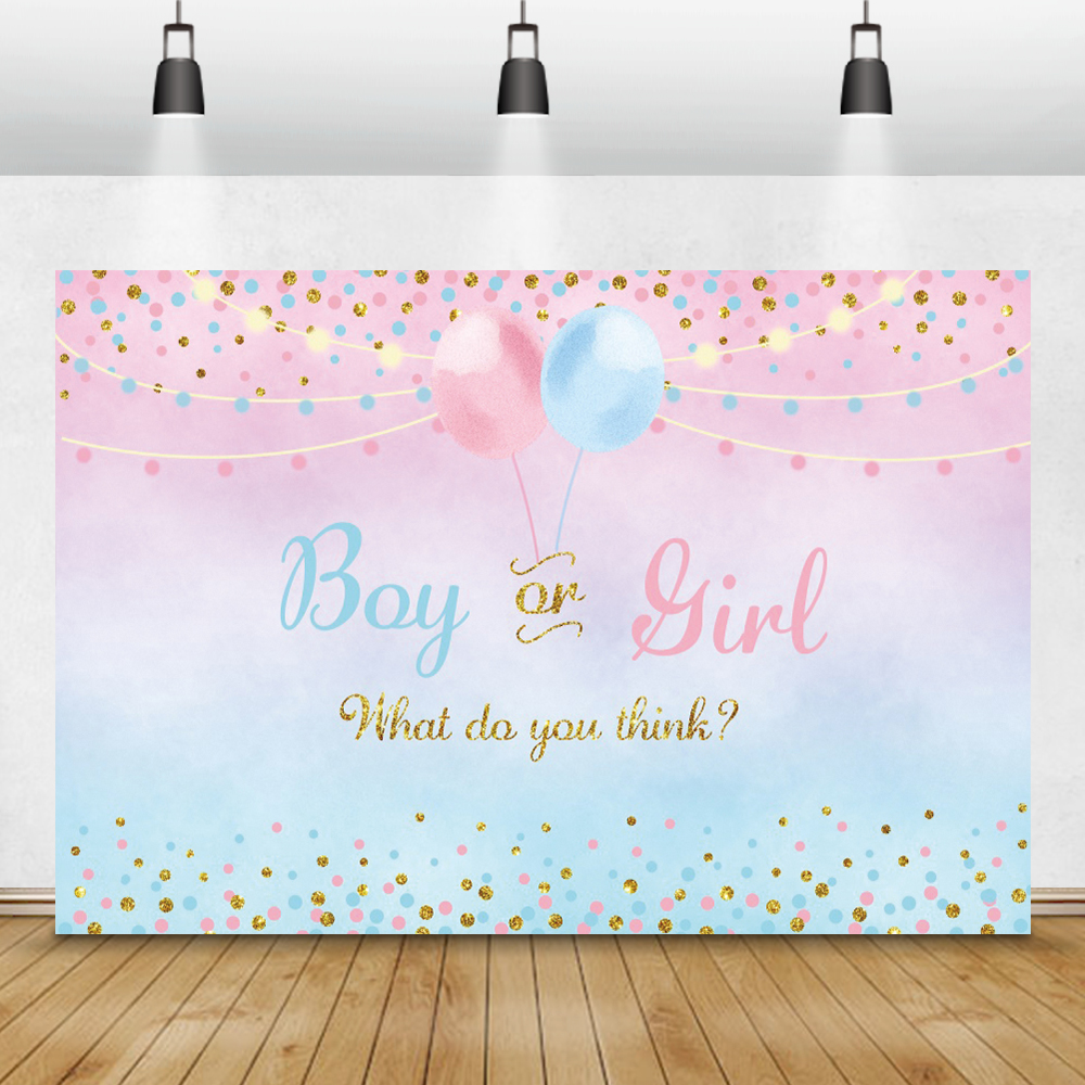 Laeacco Baby Shower Background Balloon Gender Reveal Party Boy Or Girl Poster Dot Photography Backdrop Photocall Photo Studio