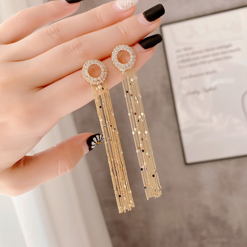 2020 New Arrival Vintage Full Crystal Circle Square Long Tassel Drop Earrings For Women Temperament Geometry Fashion Jewelry