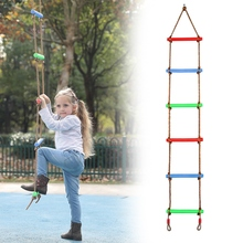 Ladder Kids Swing Climbing-Rope Outdoor Sports-Rope Training-Activity Safe 6-Rungs Swivel-Rotary-Fitness