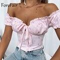 Forefair Off Shoulder Crop Top Sexy Bow Tie Printed Women 2021 Fashion Ladies Vintage Cottagecore Short Sleeve Summer Tops