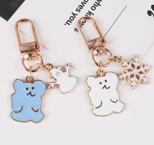 Аниме медведь Снежинка брелок для женщин Металлические Брелки