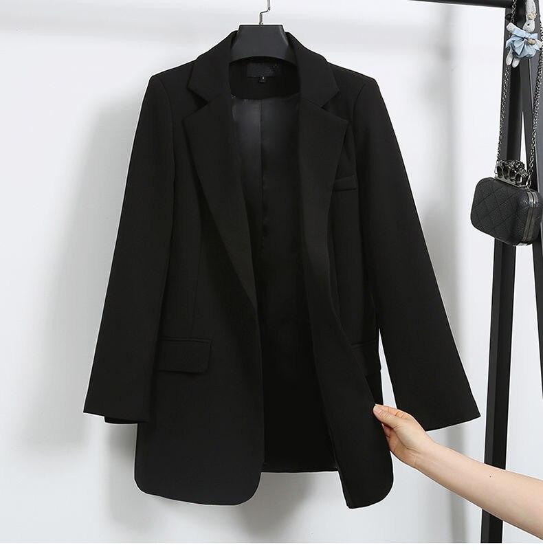 Elegant Black Single Button Women Blazer Jacket 5