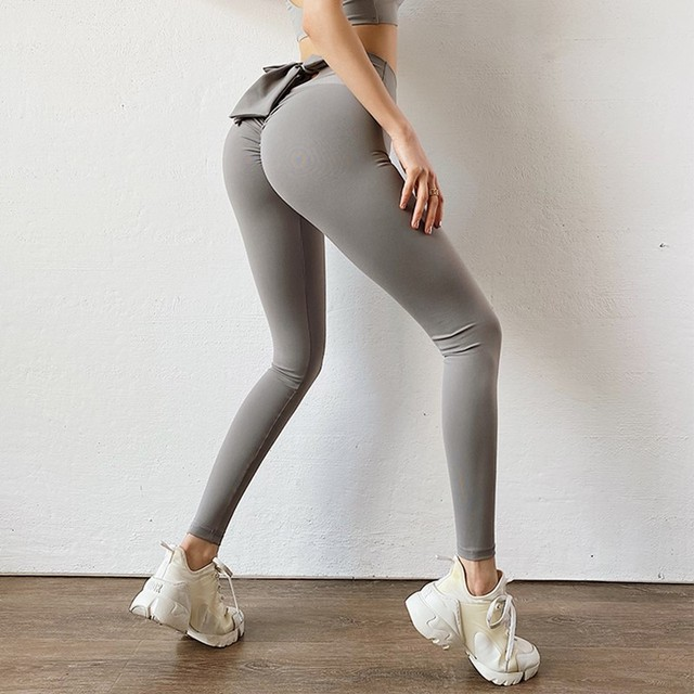 Bowknot lift hip Sports pants High Waist Yoga Leggings Scrunch Butt Workout Sports Women Fitness Leggings Gym Running Tights 2