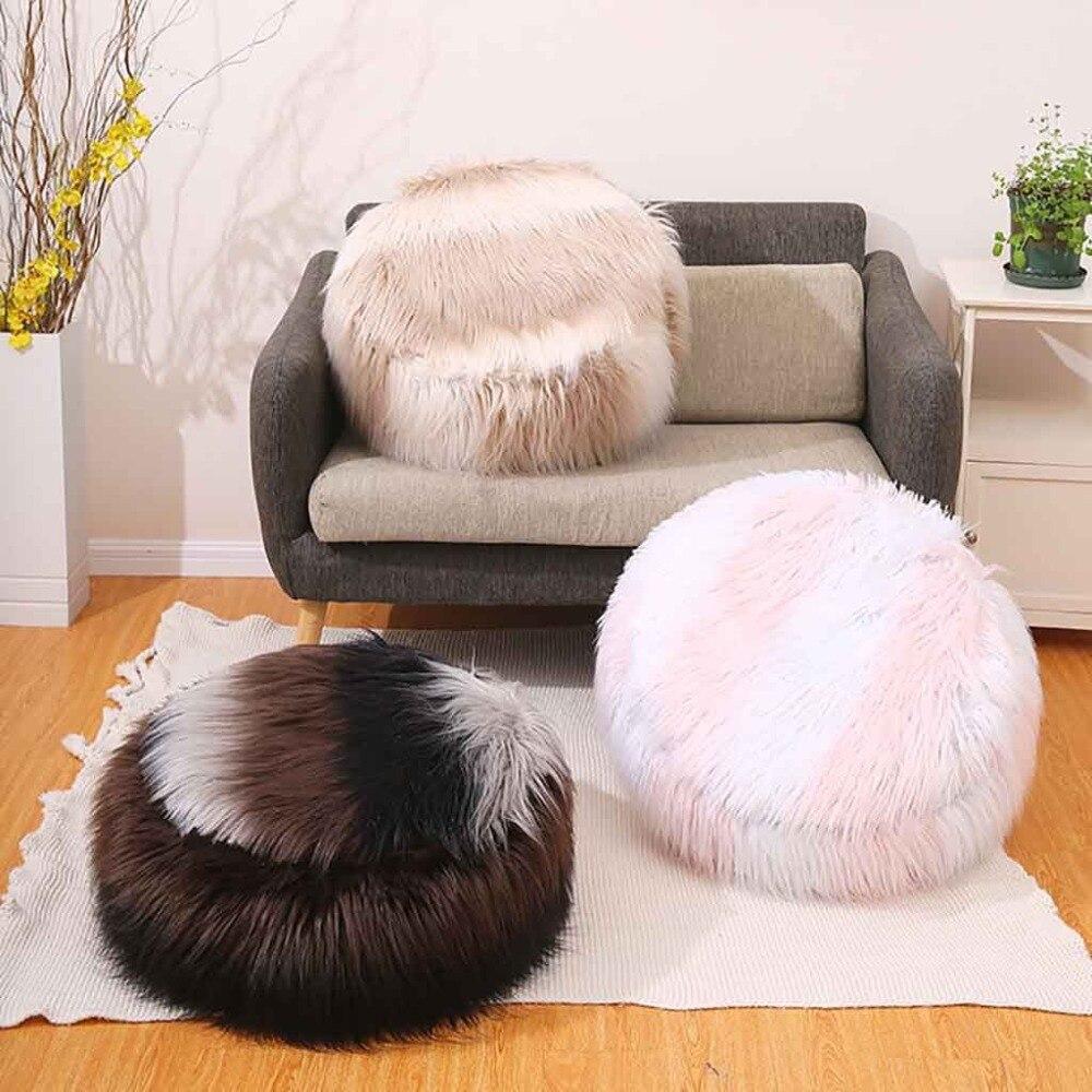 Plush Sofa Stool Futon Mat Inflatable Portable Round Footstool European Style (31)