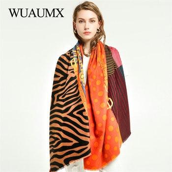 Wuaumx Warm Scarf Women Autumn Winter Ladies Scarves Double Sided Print Patchwork Pattern Oversize Shawl Wrap Scarves For Female недорого