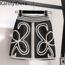 Black Embroidery High Waist Skirts Womens Print Patchwork Lace Sexy Mini