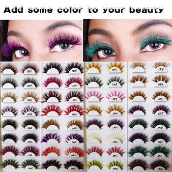New color 3D luxury mink lashes wholesale natural long individual thick fluffy colorful false eyelashes Makeup Extension Tools 4