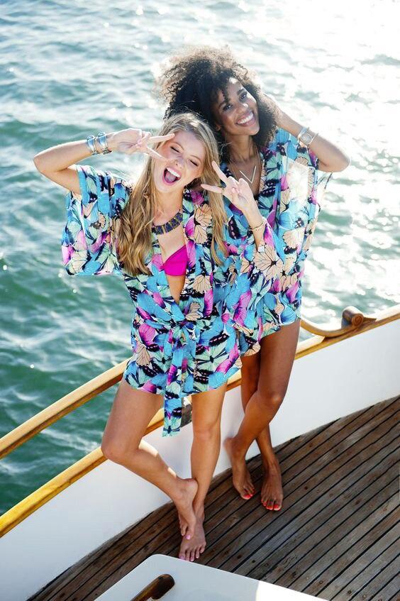 Europe And America Chiffon Blue Butterfly Pattern Printed Beach Skirt Seaside Holiday Skirt Bikini Cover-up Sun Shirt
