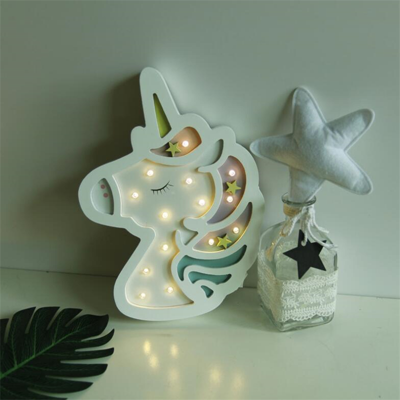 INS Originality unicorn lamp LED Night Light Nordic Cartoon Wall Hanging Children Room Decorative Lamp Baby Photographic Props|Luces nocturnas|   - AliExpress
