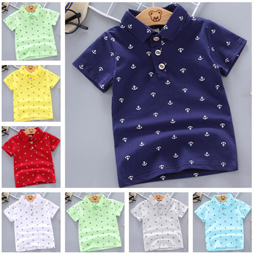 Summer Polo Shirt Baby Boys Girl Short Sleeved Lapel Clothes Kids Cotton Print Breathable Tops Children's Clothing 12M-5Y
