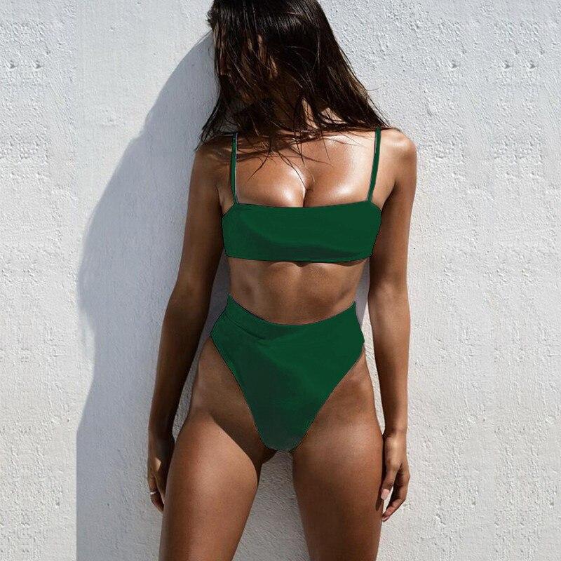 Minimalism Le Solid High Waist Bikinis Sexy Leopard Swimsuit Women Snake Print Bathing Suit 2019 New Swimwear Summer Beachwear