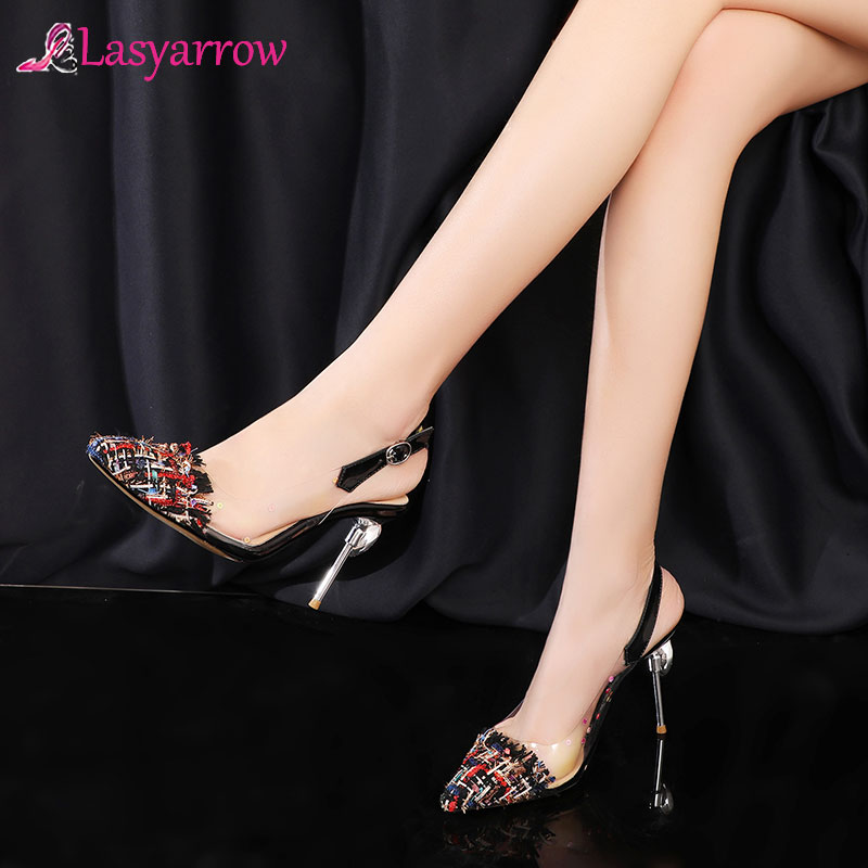 Lasyarrow Fashion New Design Plus <font><b>Size</b></font> <font><b>50</b></font> Thin <font><b>High</b></font> <font><b>Heels</b></font> Summer Pumps Woman Shoes Pointed Toe Buckle Strap Party Pumps Women image
