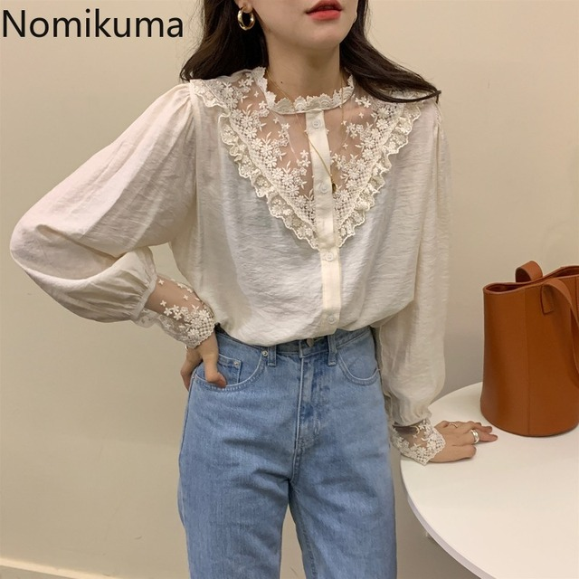 Nomikuma Elegant Vintage Stand Collar Long Sleeve Shirts Lace Patchwork See Through Fashion New Tops Blouse Women Blusas 3a236 3