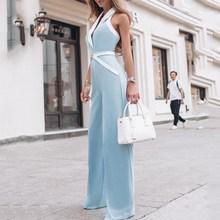купить 2019 Summer Newest Elegant Workwear Ol Rompers Women Formal Overalls Contrast Binding Halter Sexy Wide Leg Jumpsuit по цене 1298.72 рублей