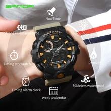 все цены на 2019 New SANDA Brand Sport Men's Watches Military LED Analog Digital Watch Men Waterproof Fashion Electronic Wristwatches 770 онлайн