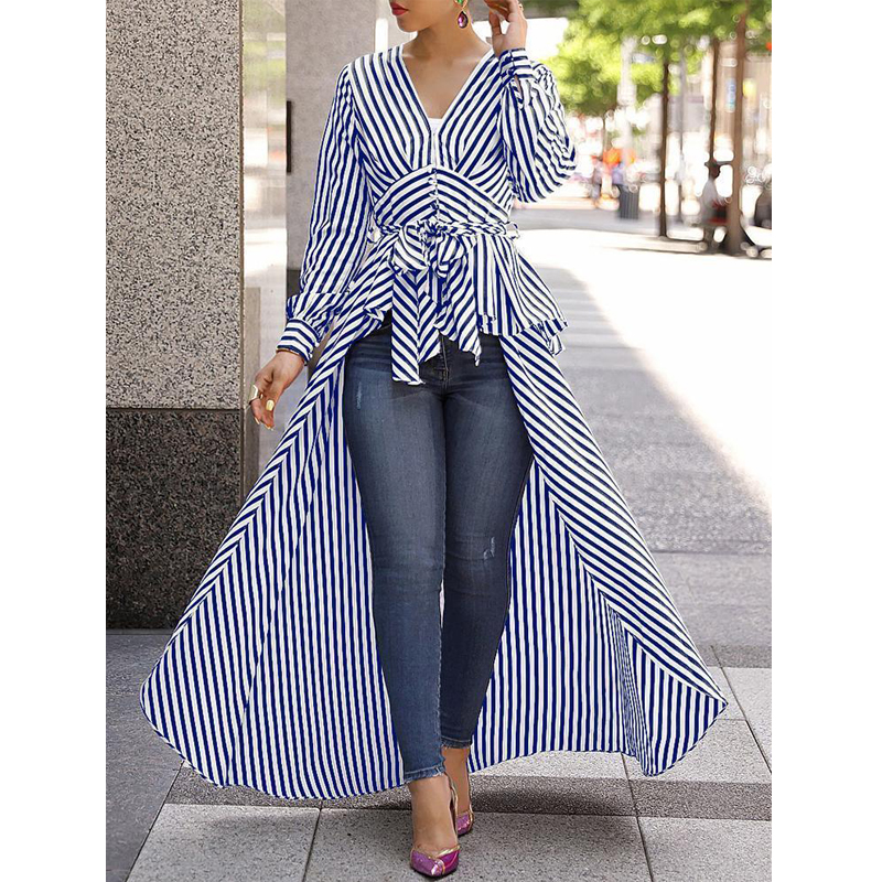 2019 Casual Lady Deep V Neck Collar Bandage Lace Up Long Shirt Dress Long Hem Women Autumn Long Sleeve Stripe Maxi Dresses
