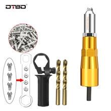 DTBD elektryczna nitownica do nitonakrętek narzędzie do nitowania nitowania wiertarka adapter nakrętka typu Insert z 50 sztuk nit