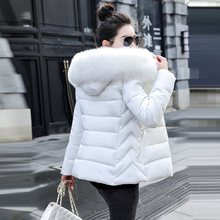 Big Fur Parka Women 2019 Winter Jacket Women Hooded Outwear Female Parka Thick Cotton Padded Lining Winter Female Basic Coats(China)