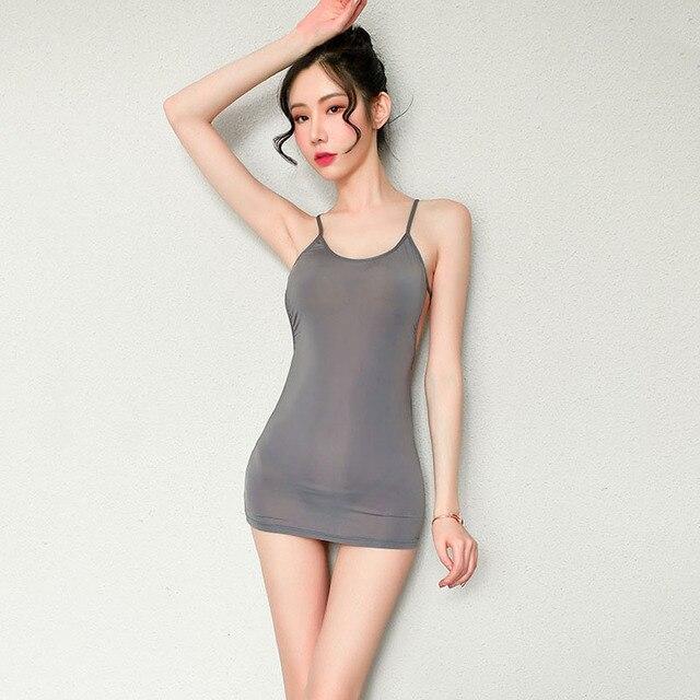 Sexy See Through Erotic Mini Dress for Women Cosplay secretary uniform Party Nightclub Bodycon Dresses with Thong Sex Nightwear 2