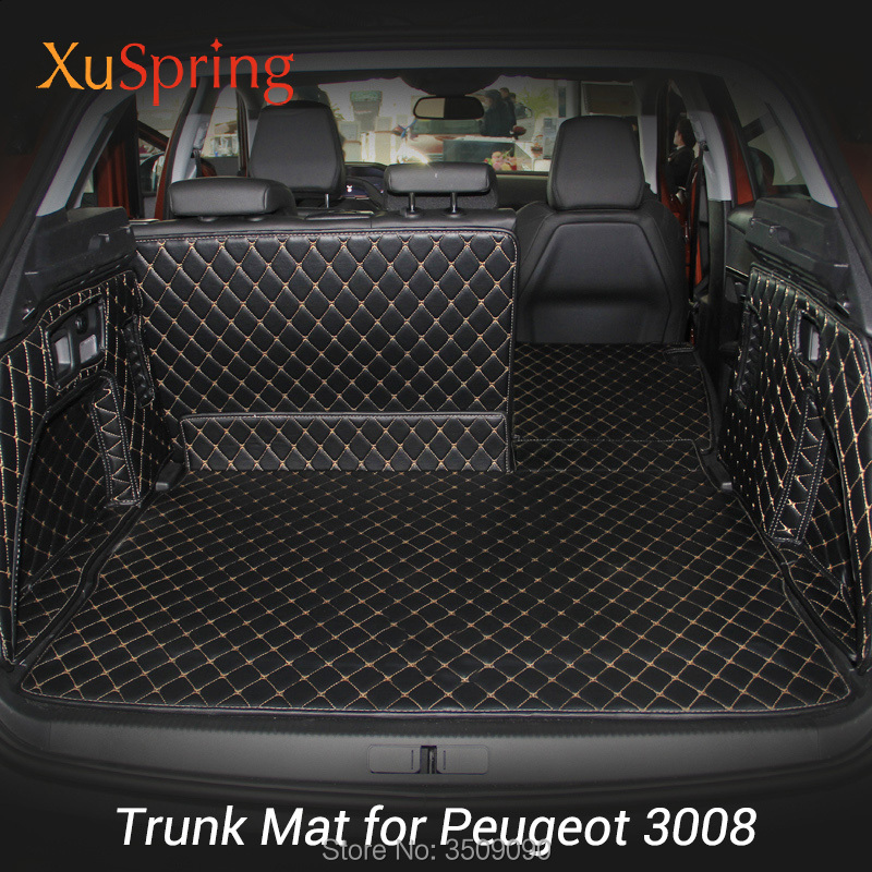 For Peugeot 3008 2016 2017 2018 2019 Rear Tail Car Trunk Mat Durable Boot Carpets Cargo Liner Cover Protective Car Styling